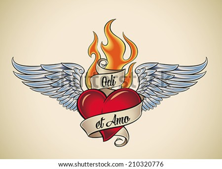 Old-school styled tattoo of a flaming heart with blue wings. The motto Odi et Amo (Latin) means I hate and I love. Editable vector illustration. - stock vector