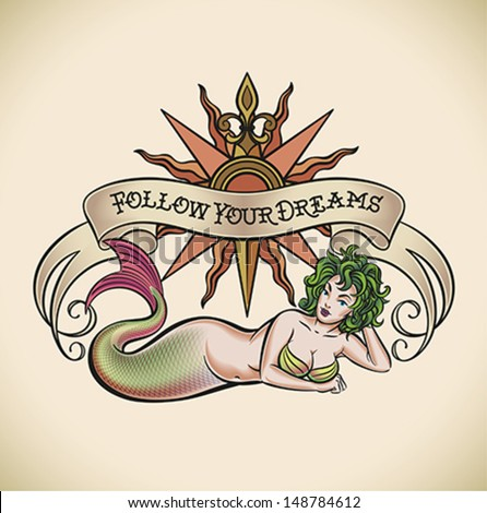 Old-school styled tattoo of a green hair mermaid on the background of a rose of winds and a banner. Editable vector illustration. - stock vector