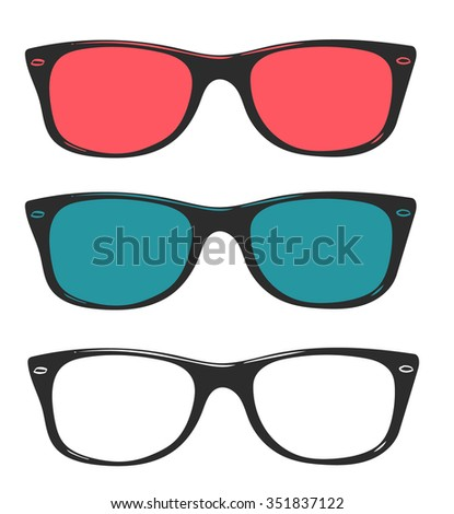Old school sunglasses vector illustration