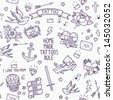 Old school tattoo seamless pattern. Cartoon vector tattoo elements in funny style:anchor, dagger, skull, flower, star, heart, diamond, scull and swallow.  Doodle in exercise book style - stock vector