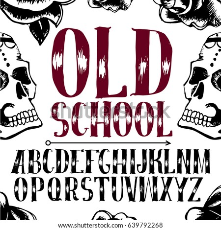Old School Tattoo Style Font Alphabet