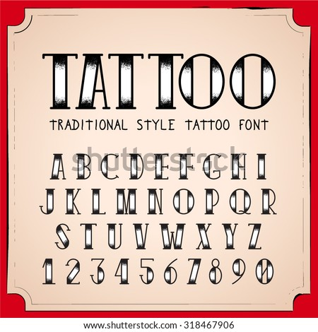 Old School Tattoo style font. Vector Traditional Ink Tattoo Alphabet - stock vector