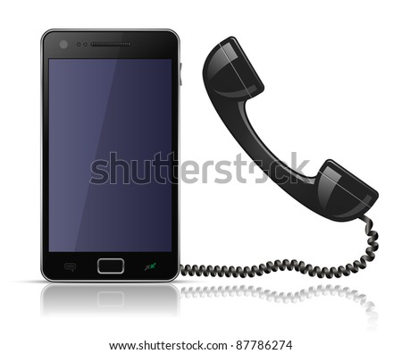 Old school telephone handset for smartphone. Vector illustration of smartphone and old school handset - stock vector