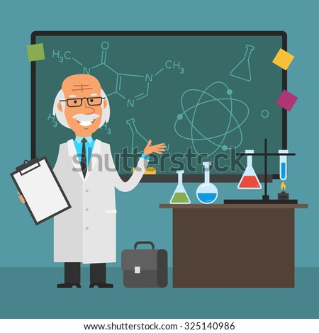 Old scientist points to chalkboard and smiling - stock vector