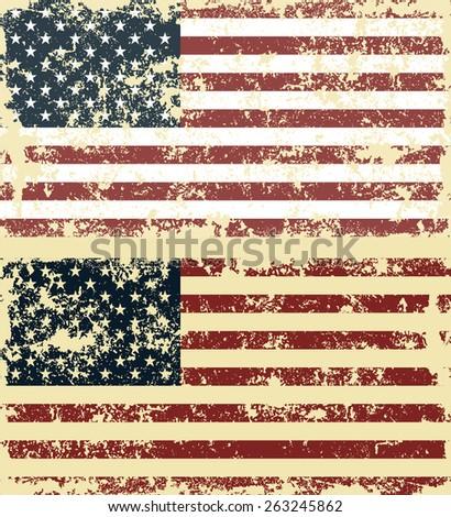 Old scratched flag. Vector illustration of vintage USA flag - stock vector