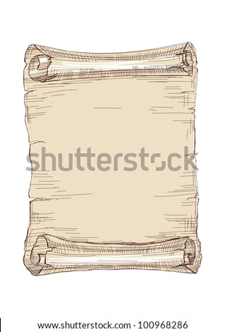 old scroll drawing vector illustration - stock vector