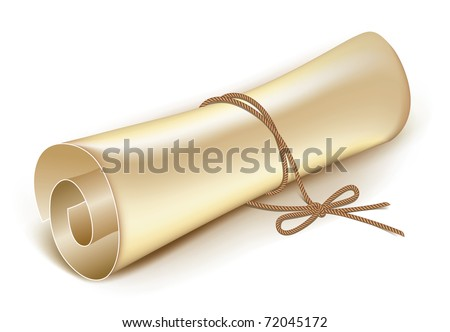 old scroll tied with a rope on the bow vector - stock vector