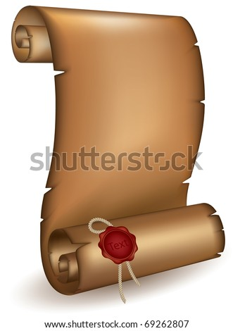 Old scroll with a wet seal mesh - stock vector