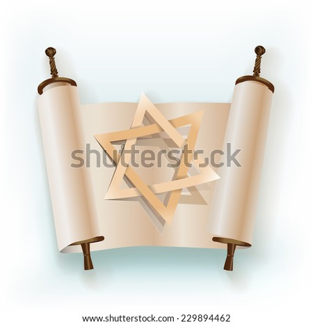 old scroll with star of David - stock vector