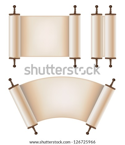 old scrolls in different forms - stock vector