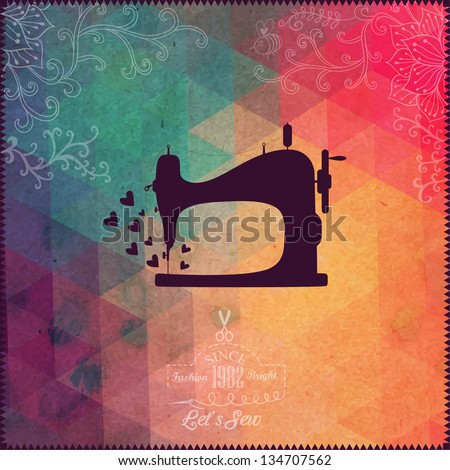Old sewing machine on hipster background made of triangles with grunge paper. Retro background with floral ornament and geometric shapes.Retro label design. Color flow effect. Hipster theme label. - stock vector