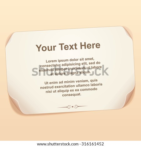 Old Sheet of Paper. Vector Ready for Your Text and Design. - stock vector