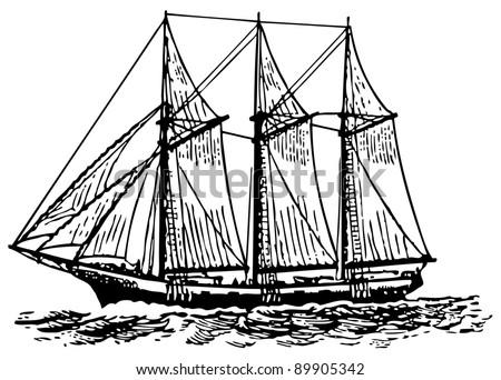 Old ship - stock vector