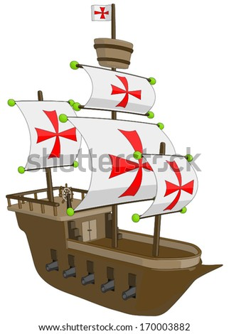 Old Ship - Frigate/Galleon -  Vector Artwork (isolated on white background). - stock vector