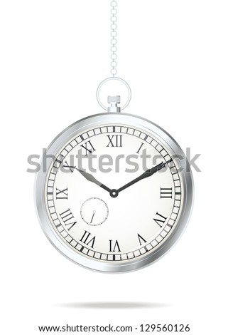 Old silver watch. Vector illustration - stock vector