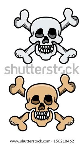 Old Skulls - Vector Cartoon Illustration - stock vector