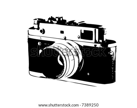 Old SLR camera isolated on white - stock vector