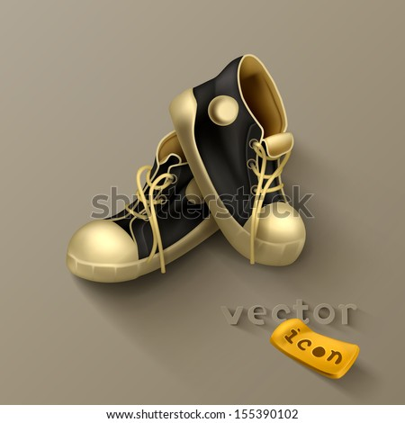 Old sneakers icon - stock vector