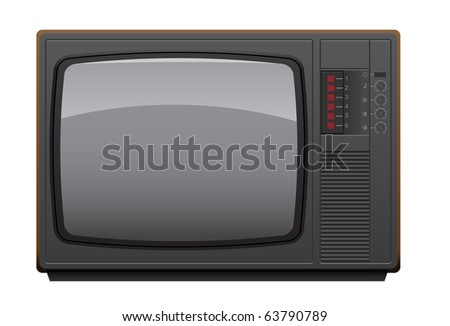 Old Soviet TV set. Realistic vector illustration.