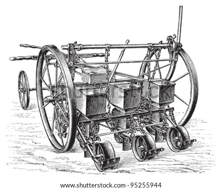 Old sowing machine / vintage illustration from Meyers Konversations-Lexikon 1897