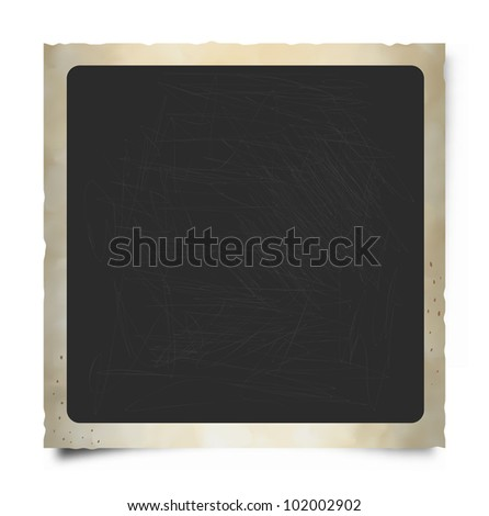 Old square Instant Photo Frame with Rounded Edges. - stock vector