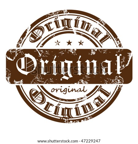 Old stamp from the Gothic word original. - stock vector