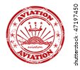 Old stamp, seal with the inscription aviation. - stock vector