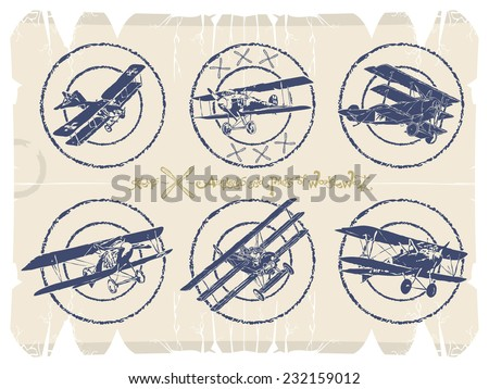 Old stamps - airplanes, vector