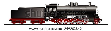 Old steam locomotive - stock vector