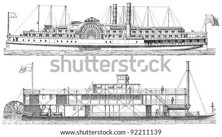 Old steamships / vintage illustration from Meyers Konversations-Lexikon 1897 - stock vector