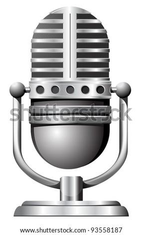 old,steel microphone - stock vector