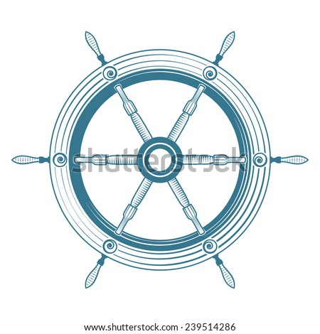 Old steering wheel isolated, excellent vector illustration - stock vector