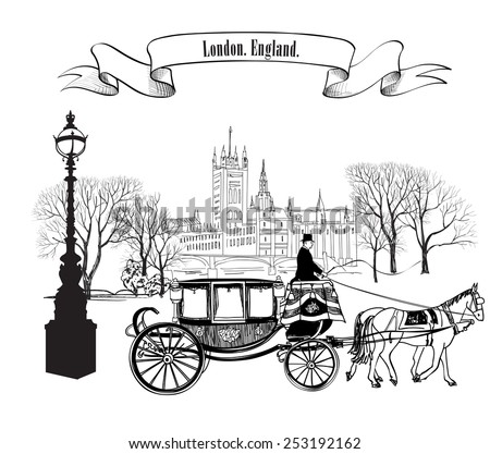 Old street alleyway with buildings, park trees, street lamp and carriage with horse. London city. England, UK. - stock vector
