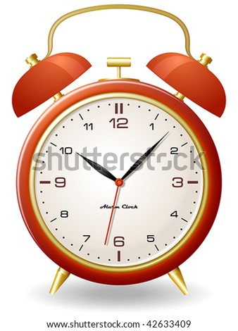 Old style alarm clock - stock vector