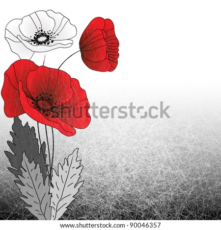 Old style background with poppies - stock vector