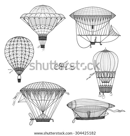 Old style balloon and airship doodle set isolated vector illustration - stock vector