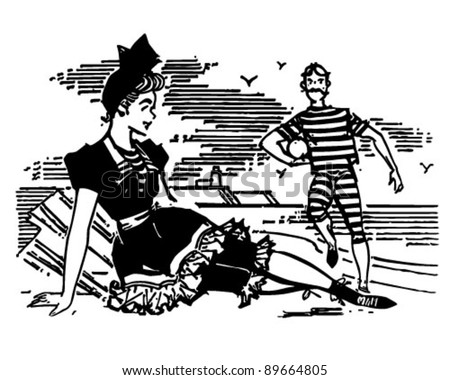 Old Style Beach Couple - Retro Clipart Illustration - stock vector