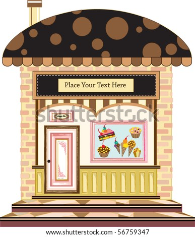 old style cafe in the city - stock vector