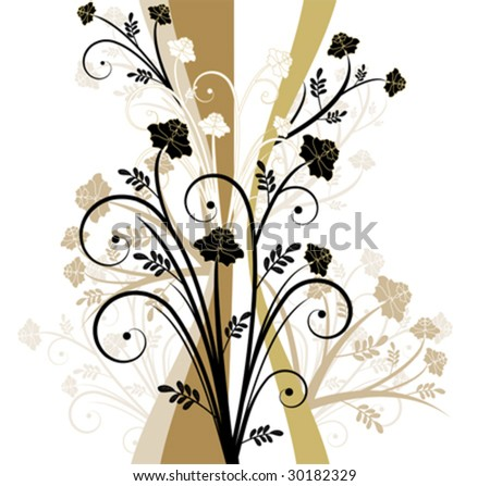 Old style floral design - stock vector