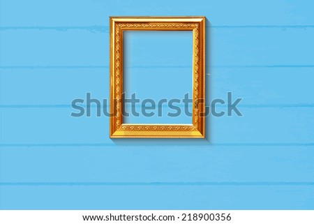Old style golden picture frame on light blue wood background, EPS vector - stock vector