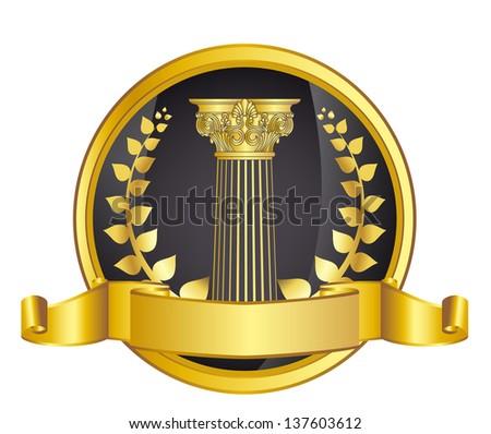 old-style greece column and gold laurel wreathgold laurel wreath. eps10 vector illustration - stock vector