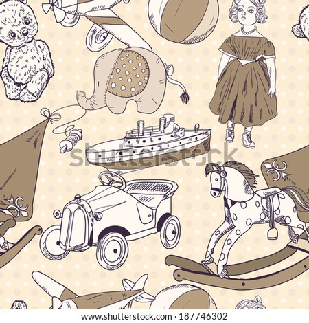 Old style kids toys sketch seamless pattern of kite ball rocking horse doll vector illustration - stock vector