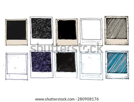 Old style vintage photo frame doodle vector illustration set  - stock vector