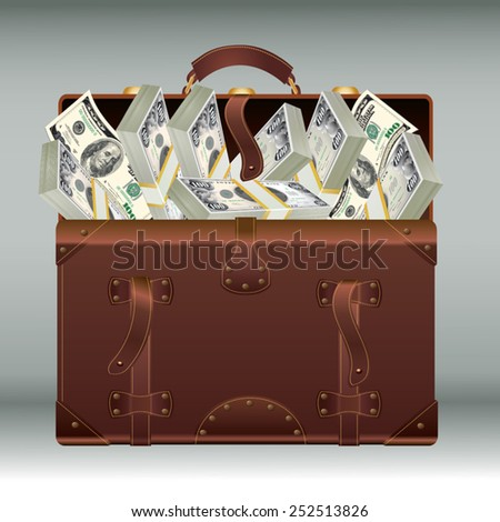 Old suitcase full of money. Vector illustration - stock vector