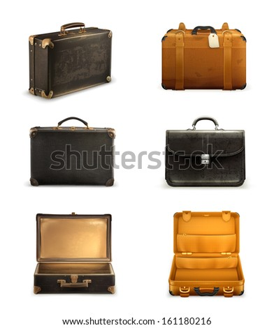 Old suitcase vector set - stock vector