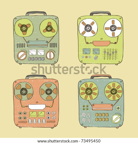 old tape recorder set - stock vector