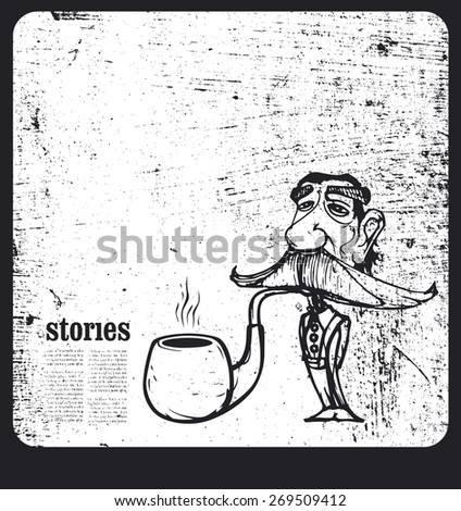 old teacher smoking pipe with grunge background - stock vector