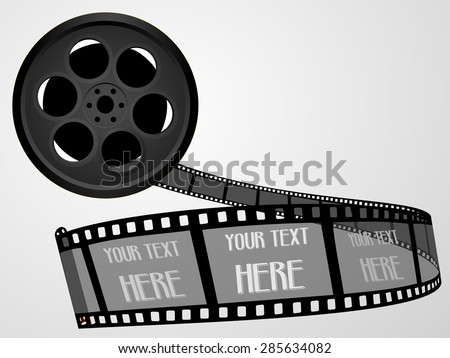 Old technology concept - black color 55mm twisted movie film strip . Cinema film roll with space for text. Realistic retro 3d design, vector art image illustration, isolated on white background, eps10 - stock vector