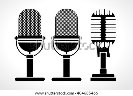 Old technology object concept, Set of microphone web icon . Flat retro music, studio and radio mic sign collection. Black silhouette design, vector art image illustration, isolated on white background - stock vector