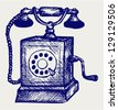 Old telephone. Doodle style - stock vector